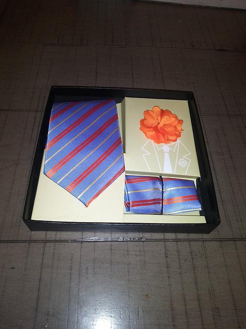 Blue/Orange Stripe Tie, Hanky and Lapel Set