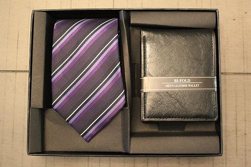 Purple Striped Tie & Wallet Set