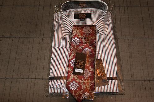Black & Rust Striped Shirt & Tie Combo