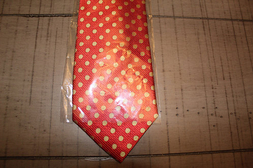 Red w/Gold Dots Tie 7 Pocket Square Set