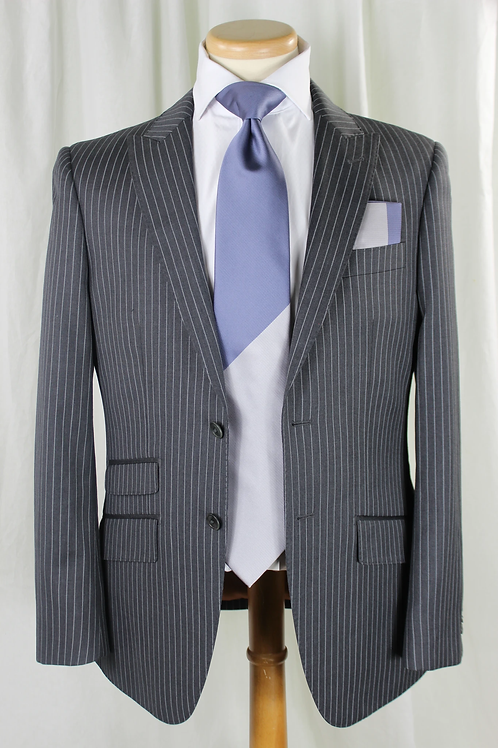 Blue/Grey Dos Stripe Tie & Pocket Square