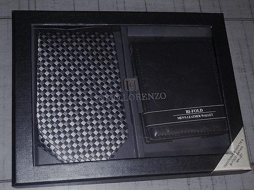 Gray/Black/Checkered Tie & Wallet  Set