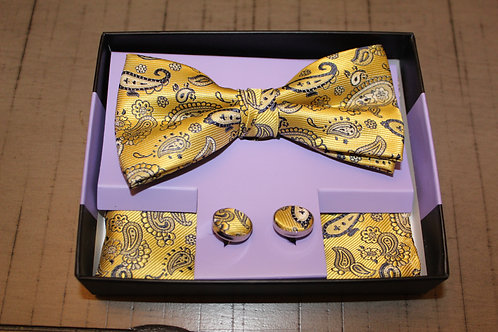 Yellow Paisley Bow Tie/Hanky/Cuff-Links Set
