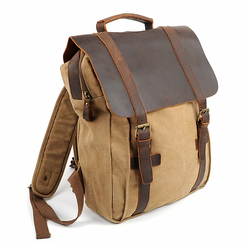 Leather Vintage Canvas Laptop Bag