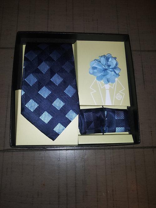 Navy Tie, Hanky & Lapel Pin Set