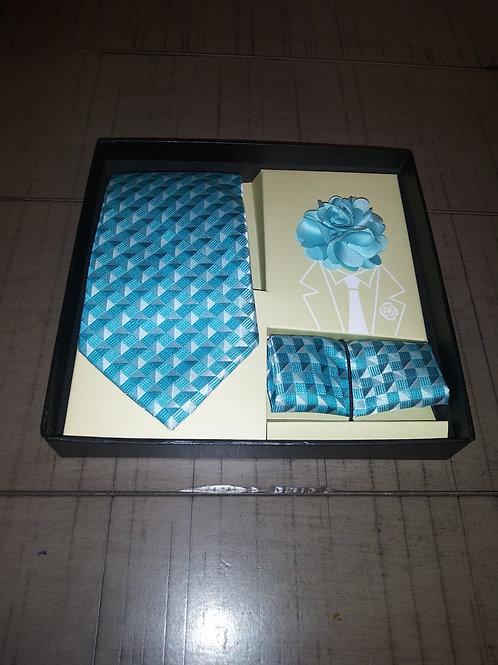 Turquoise Tie, Hanky and Lapel Set