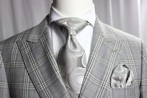 SOLID GREY FIAT 10 - 7 FOLD TIE & POCKET SQUARE