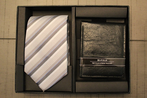Striped Grey Tie & Wallet Set