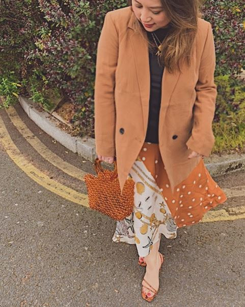 Rust blazer from H&M, Shell print slip skirt and beaded tote bag from & Other Stories, Strappy Zara Sandals, Earth tones, Rust, orange