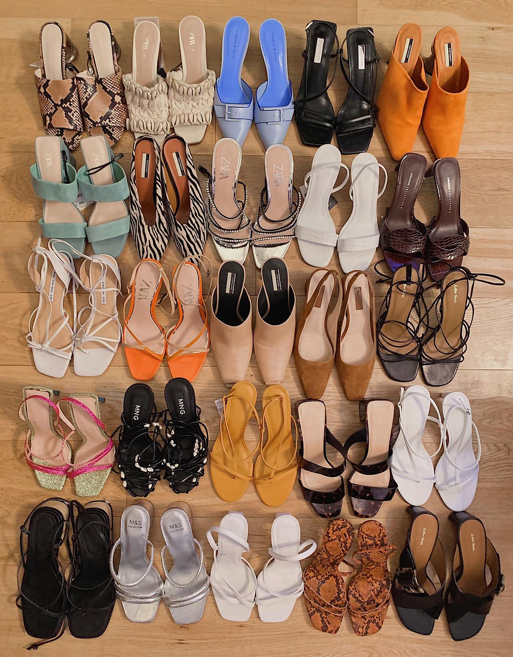 Spring Summer 2019 shoe trends, barely there sandals, floss sandals, natural sandals, mules, seashells, snakeskin, animal print, slingback heels, white shoes