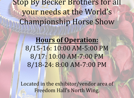World's Championship Horse Show hours of operation announced.