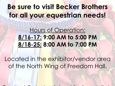Becker Brothers Announces World's Championship Horse Show Operation Hours
