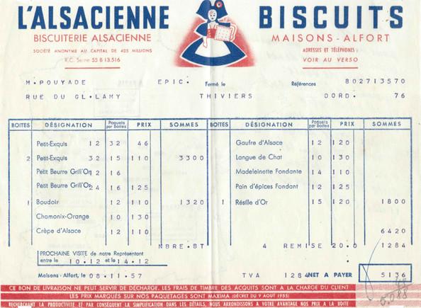 Ileufuus Bond de livraison n°172  L'Alsacienne Maisons-Alfort (8 novembre 1957)