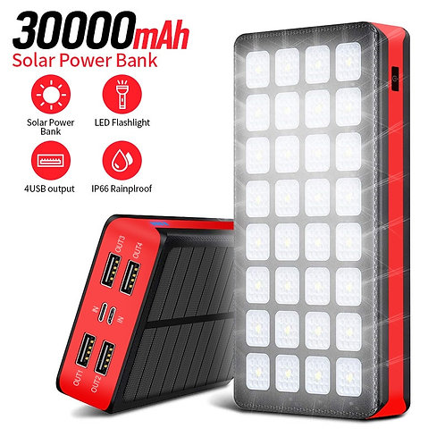 30000mAh Portable Solar Power Bank with Built in Light Function