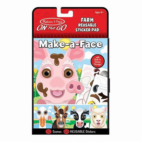 Make-a-Face Farm Sticker Pad - M&D