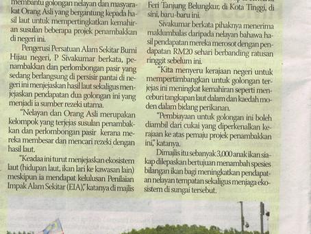 GES releases 3,000 Siakap fish fries in Pengerang          17th January 2015