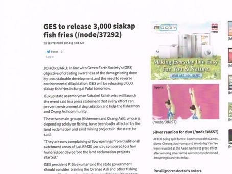 GES Released 3000 Siakap Fish Fries at Sungai Pulai