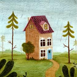 aquarel huisje