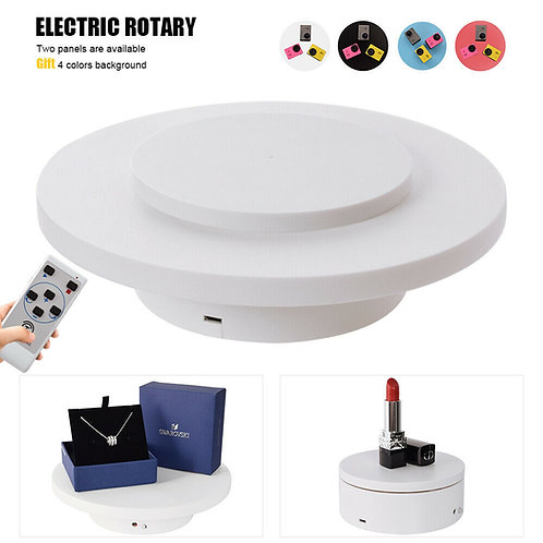 20cm White Electric Chargable Display Rotating Turntable w/ Remote Control