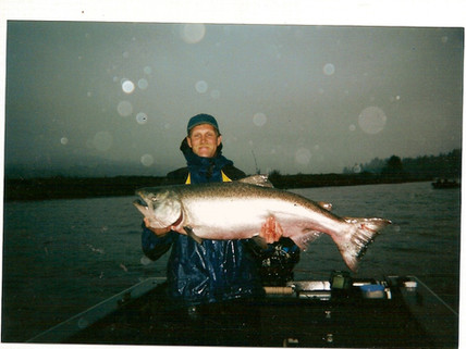 RON HOLT WITH A KING SALMON TO BE PROUD