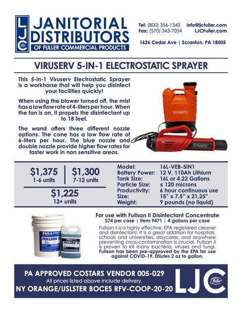 Viruserv Electrostatic Backpack Sprayer.