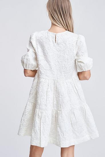 Jacquard Mini Babydoll Dress