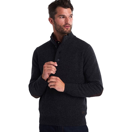 Half Patch Button Sweater in Charcoal