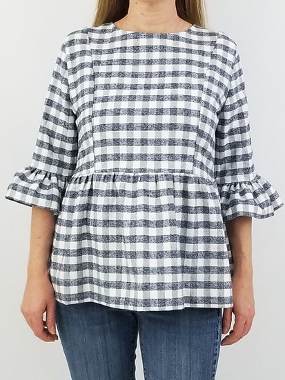 Carolina Top in Grey Gingham Flannel