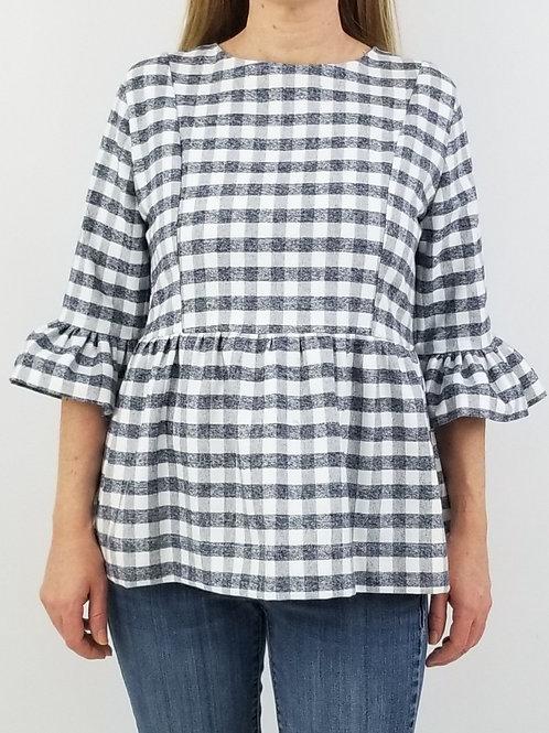 Carolina Top in Grey Gingham Flannel