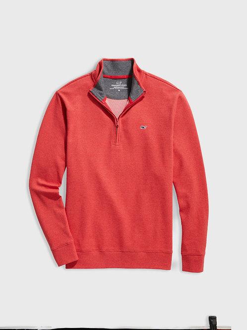 Coopers Town Stripe Saltwater 1/2-Zip Pullover In Coopers Red Velvet
