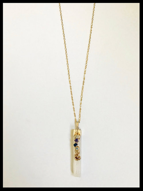 Crystal Necklace Embellished with Colored Stones