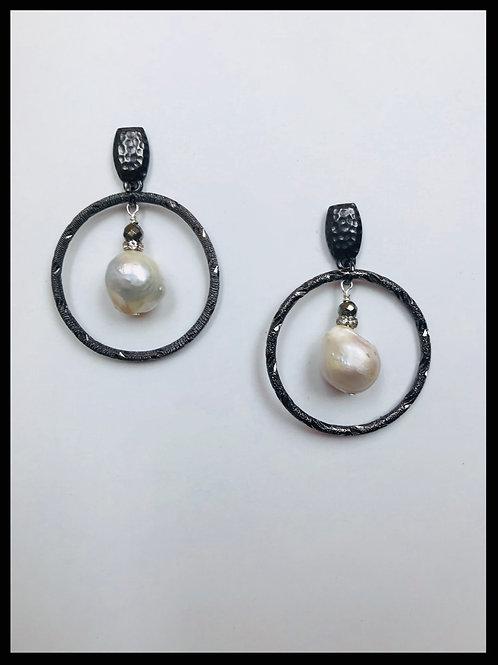 Gunmetal Hoop Earrings with Pearl
