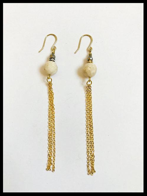River Fossil Gold Chain Tassel Earrings