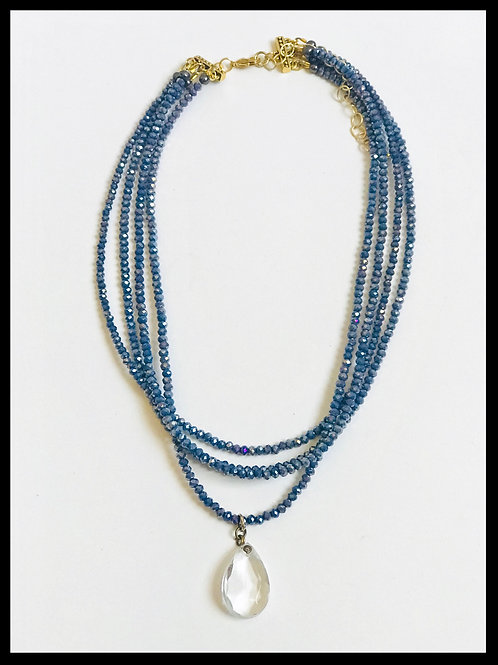Denim Blue Crystal Choker with Prism