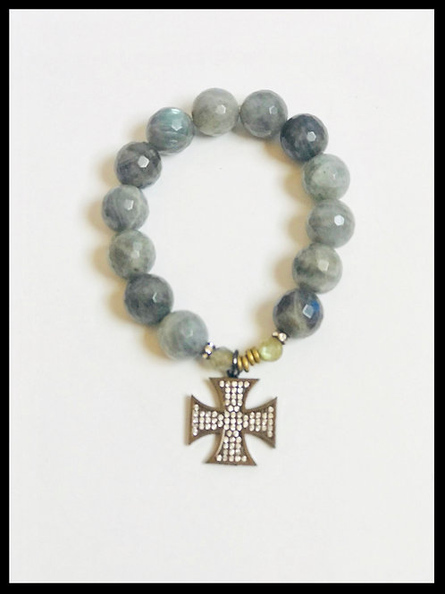 Labradorite Bracelet with Maltese Cross Charm