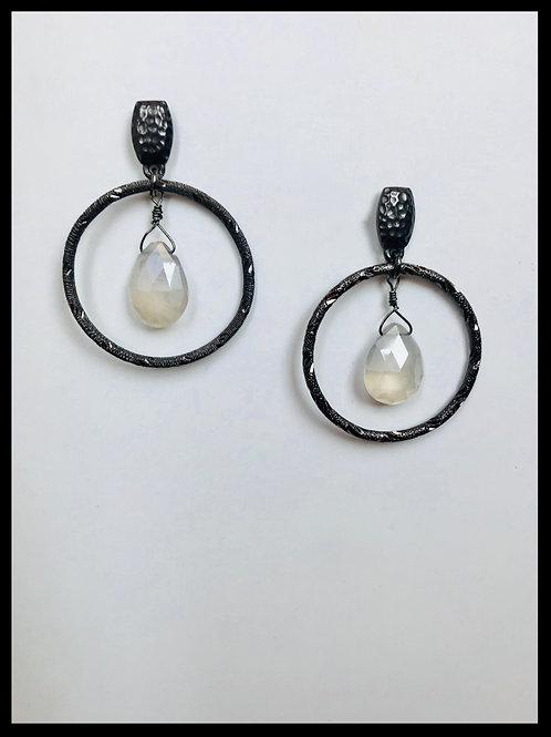 Gunmetal Hoop Earrings with Moonstone