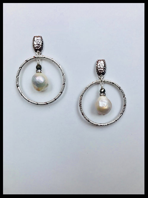 Silver Hoop Earrings with Pearls
