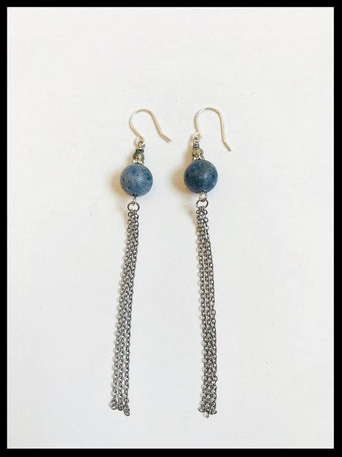 Blue Coral Silver Chain Tassel Earrings