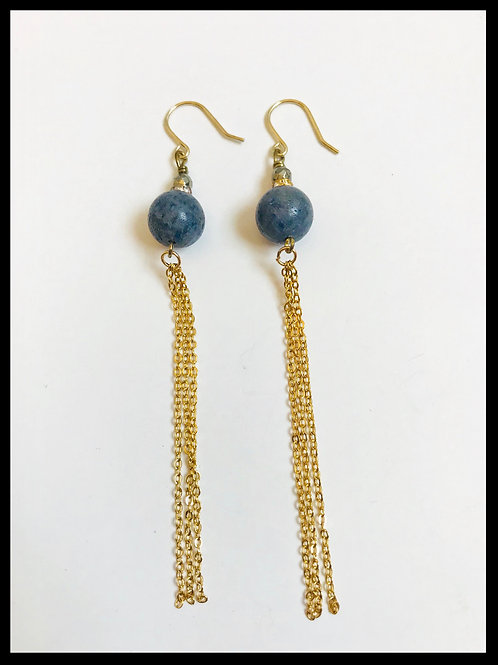 Blue Coral Gold Chain Tassel Earrings