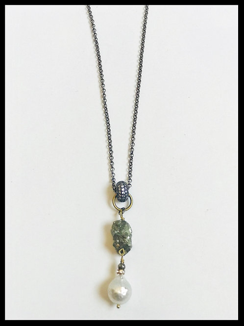 Pyrite & Pearl Necklace