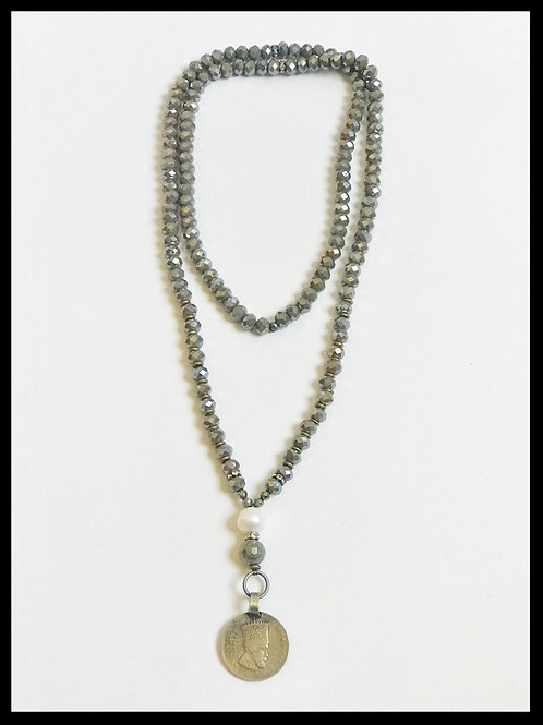 Grey Crystal Coin Necklace