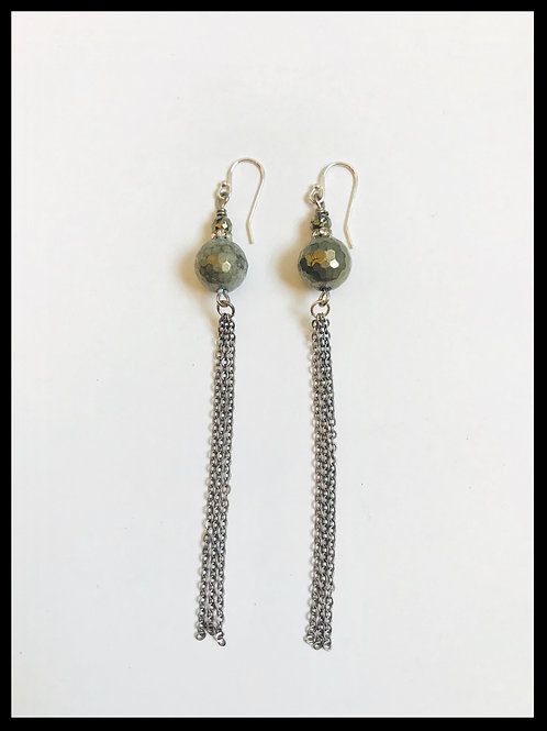 Pyrite Silver Chain Tassel Earrings