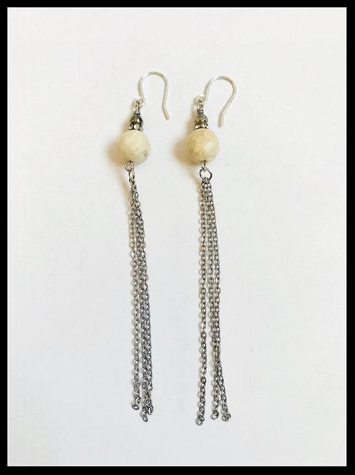 River Fossil Silver Chain Tassel Earrings