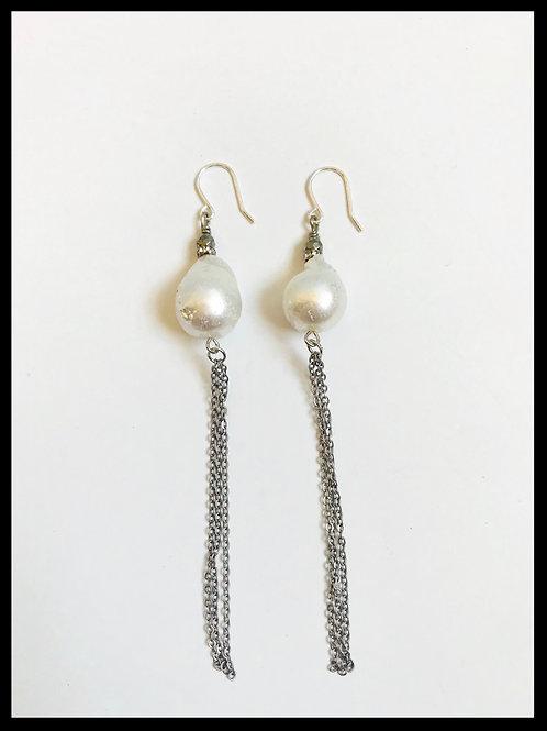 Pearl Silver Chain Tassel Earrings
