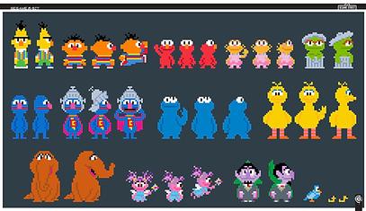 Sesame, 8bit, sesame styles, character design