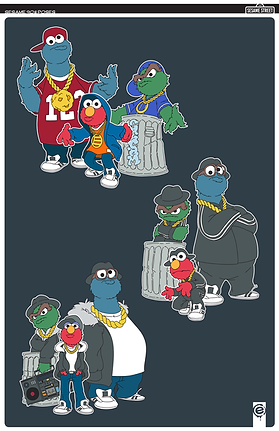 Sesame street, 90s, 80s, hip hop, run dmc, gold chain, boombox, adidas, oscar, elmo, cookie monster