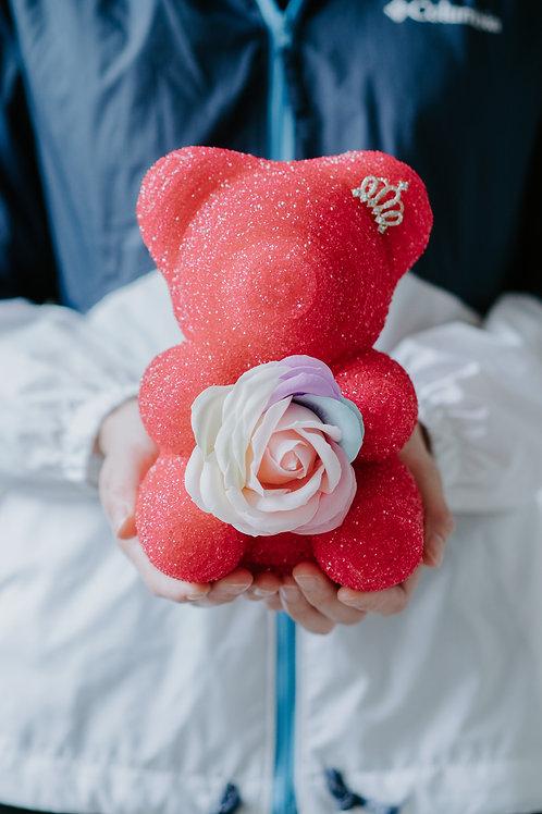 現貨 - [20cm高 - 紅色] 皇冠閃鑽帶熊仔
