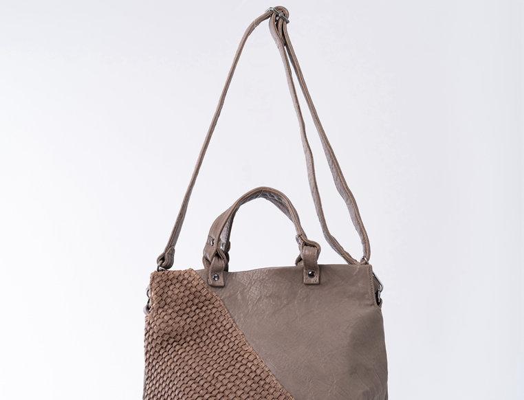 手工編織設計斜背手挽羊皮包