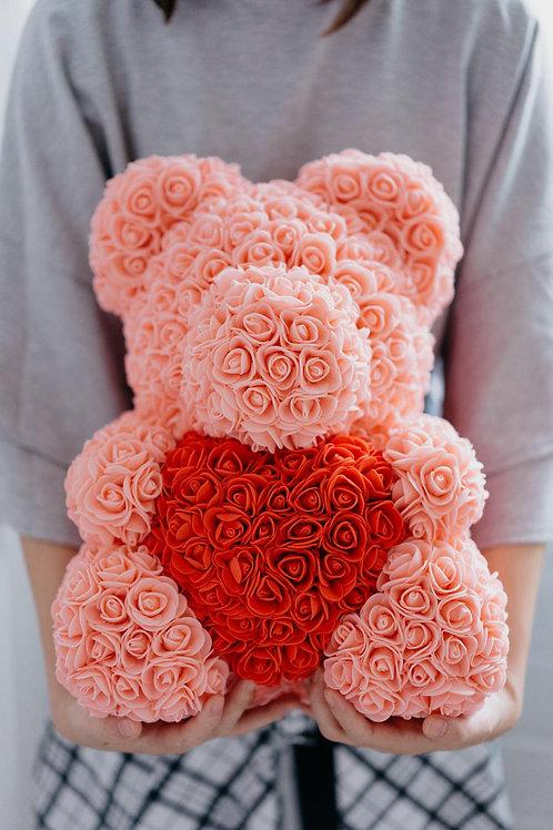 現貨 - [35cm高] 抱心玫瑰熊仔 (粉橙色)