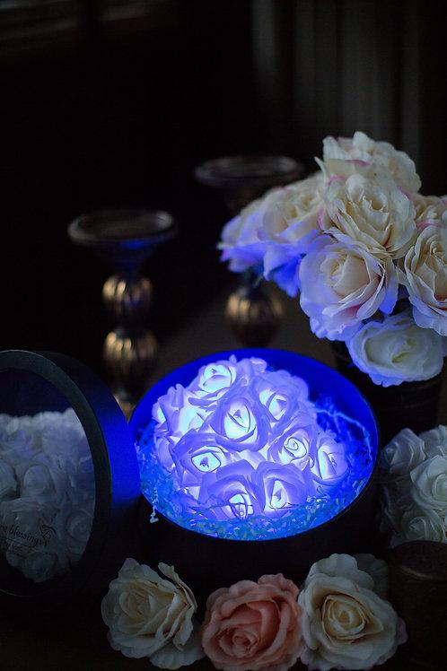 現貨 - 39朵韓式閃亮玫瑰圓形花盒 (秀麗藍光)